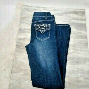 Cache Flare Jeans Bling Beads Inseam 34 Wide Leg